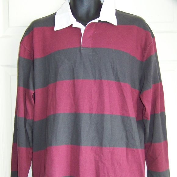 7727819eac6e Foot Locker gray and burgundy striped Rugby shirt